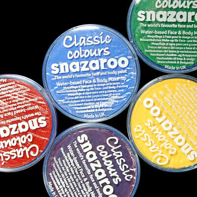 SNAZAROO FACE PAINT BODY PAINT 18ml, Classic Colours, Fancy Dress Make Up