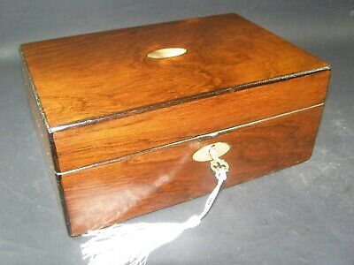 Antique Rosewood Desk Top Box Working Lock & Key c1870 Mother Of Pearl Center