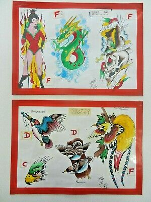 vintage hand coloured tattoo flash sheets louis molloy 1982 NOT MACHINE