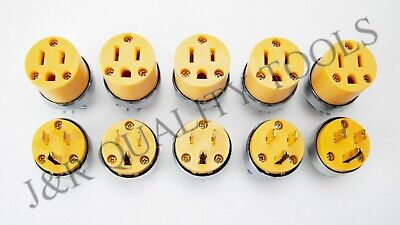 5 Female 5 Male Extension Cord Replacement Electrical Plugs 15AMP 125V 3 Prong