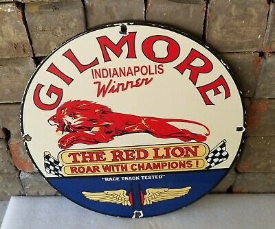 Gilmore Lion Gas Oil gasoline sign round .. FREE shipping any 8 signs