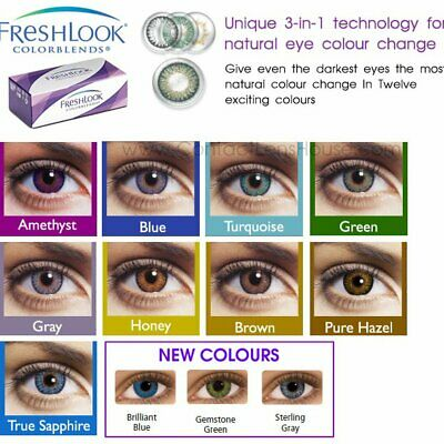 😍🎉🎁 🇫🇷Lentille De Couleur FRESH (made In USA) CONTACT COLOR LENSES 1 Years