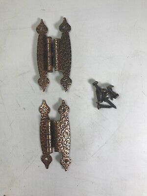"PAIR of Vintage Antique-Style H 3/8"" Offset Cabinet Hinges Antique Copper Finish"