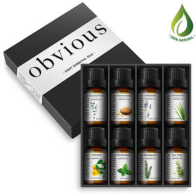 Aromatherapy 8 Essential Oil Set 100% Pure Therapeutic Gift Sampler Kit Oils