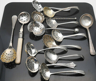 Collection Of Antique & Vintage Sifting Ladles Etc - Silver Plated