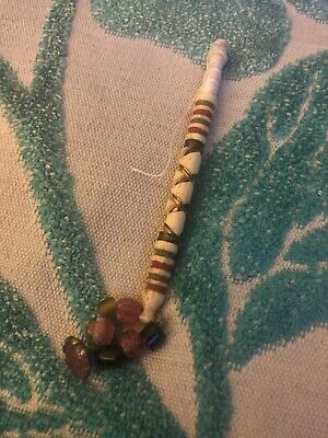 1 x  Lace Making Vintage Bobbin With Beads Animal Bone Carved With Metal Work