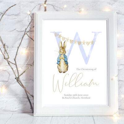 Peter Rabbit Personalised A4 Print Initial Christening Baptism Boy Blue