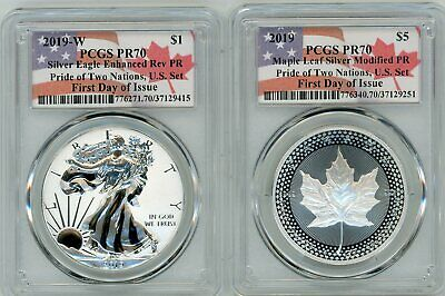 2019 PRIDE OF TWO NATIONS SET PCGS REVERSE PR70 FIRST DAY OF ISSUE FLAG Pop 250!