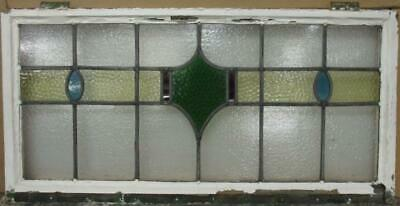 "OLD ENGLISH LEADED STAINED GLASS WINDOW TRANSOM Gorgeous Band Design 34.5"" x 17"""