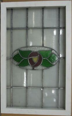 "MIDSIZE OLD ENGLISH LEADED STAINED GLASS WINDOW Gorgeous Floral 19.25"" x 31"""
