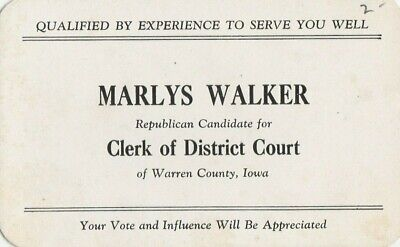 Indianola Iowa~Marlys Walker~Republican Candidate For Clerk of Dist Court~1940s