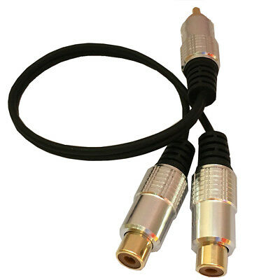 RCA Male to 2 Phono Female Splitter Y Adapter Cable/Lead-T Subwoofer Audio CY2Z