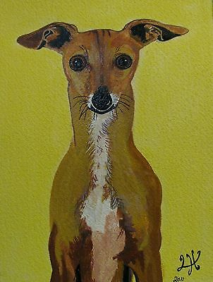 "P1-C240   Print From  Original Acrylic  Painting By Ljh  - ""Greyhound''    Dog"