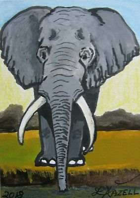 """A691       Original Acrylic Aceo Painting By Ljh       """"Elephant""""  One-Of A-Kind"""