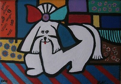 "C380     Original Acrylic Painting By Ljh ""Picasso Style Shih Tzu"""