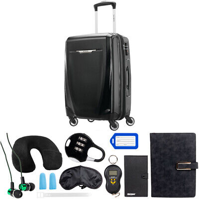 Samsonite Winfield 3 DLX Spinner 56/20 Carry-On - (Black) w/ 10Pc Accessory Kit