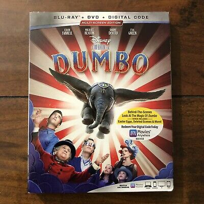 Dumbo (Blu-ray, DVD, Digital, 2019) w/Slipcover Brand NEW DISNEY