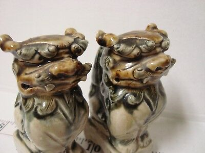 Antique Chinese Porcela Gardian Foo Lions a Pair Early 20th Century
