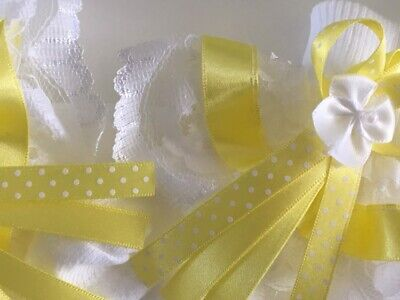 Handmade lemon pin spot white frilly socks baby/girls