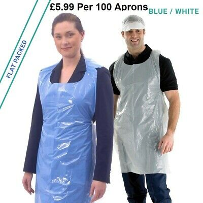 100 Flat Pack Disposable Aprons Waterproof Polythene Blue White Red Green Yellow