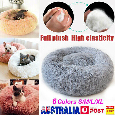 Pet Dog Cat Calming Bed Round Nest Warm Soft Plush Comfortable Self Sleeping Mat