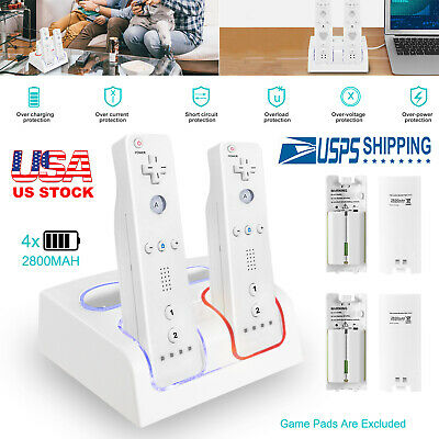 Upgraded 4 Ports Charging Dock Station+2800mAh Batteries For Nintendo Wii Remote