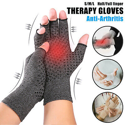 Pairs - Copper Anti Arthritis Gloves Hand Support Pain Relief Finger Compression