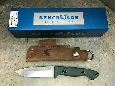 New Benchmade Bushcrafter Fixed Blade Knife Drop Point Blade Leather Sheath 162