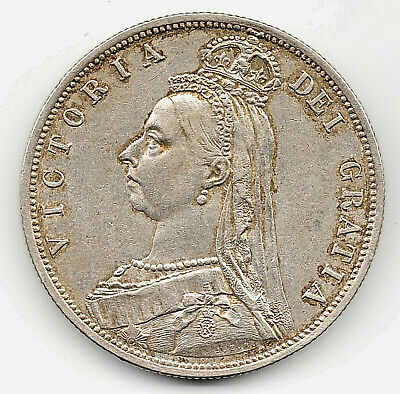 1887 Solid Silver Half Crown Coin Old V Antique Victorian Queen Victoria Fine UK