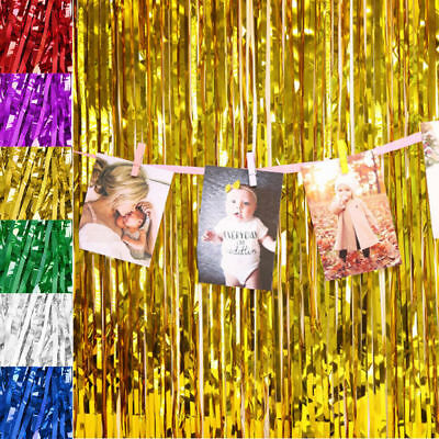 2M/3M Backdrop Shimmer Foil Metallic Tinsel Glitter Curtain Fringe Window Party
