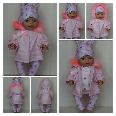 Pink handmade jacket with fur for Baby Born, 43cm doll Zapf Creation doll jacket
