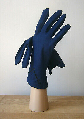 VINTAGE 1960s NAVY BLUE WRIST LENGTH NYLON EMBROIDERED GLOVES WEDDING GOODWOOD