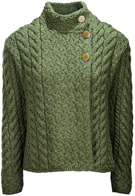 Ladies Asymmetrical Multi Cable Wool Cardigan by Aran Mills - Moss Green