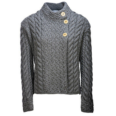 Ladies Asymmetrical Multi Cable Wool Cardigan by Aran Mills - Charcoal