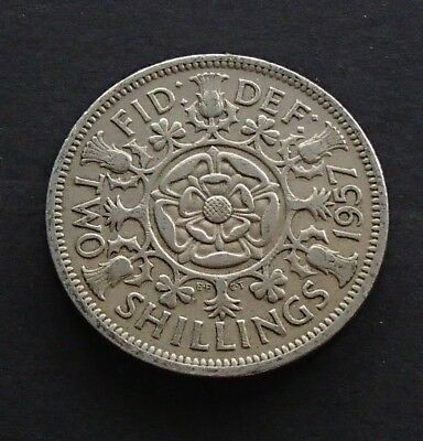 1957 English Great Britain UK Two Shillings Coin - Elizabeth II - 216