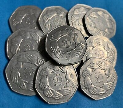 1973 EEC Hands Large Old Style 50p UK Ascension To EEC BREXIT EU
