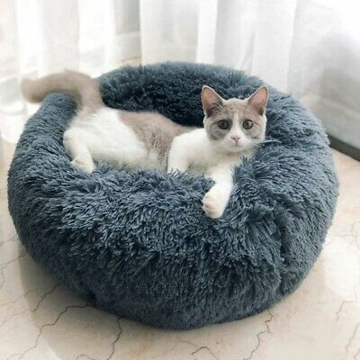 Pets Dog Cat Round Nest Soft Warm Plush Comfortable Calming Mat Bed for Sleep AU