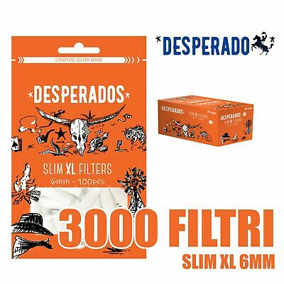 3000 DESPERADOS FILTRI SLIM XL EXTRA LUNGHI 6MM + Cartine Corte A SCELTA
