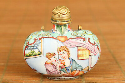 chinese old cloisonne hand painting royal snuff bottle