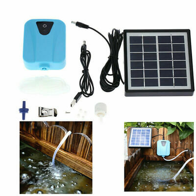 2L/min Solar Powered  Air Pump Fish Pond Oxygen 1 Air Stone Aerator USB 5V P2C8 Ponds & Water Features
