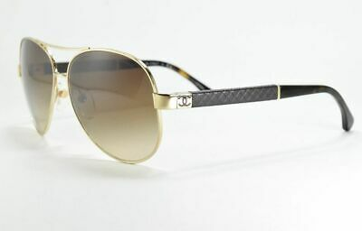 d7a8fdd51 CHANEL Sunglasses 4195Q 395/3B Pale Gold Lambskin / Brown Gradient Aviator
