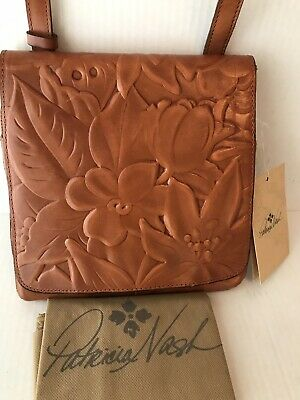 Patricia Nash Floral Deboss Collection Granada gold tooled leather crossbody bag