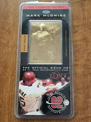 1998 Fleer Mark Mcgwire Baseball Card Pure 23kt Gold Commemorative 62d Hr Sealed