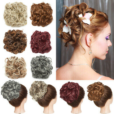Curly Scrunchie Messy Bun Hair Extension Wavy Combs Chignon LARGE Blonde Updo UK