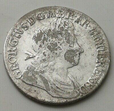 1723 Solid Silver Shilling Old Antique Coin British Royal Mint Vintage London UK