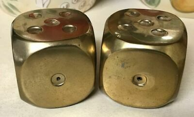 Vintage Solid Brass Large Pair of Dice
