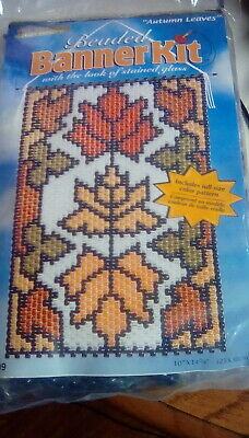 NEW THE BEADERY CRAFT AUTUMN LEAVES BEADED BANNER KIT Stained Glass 5309