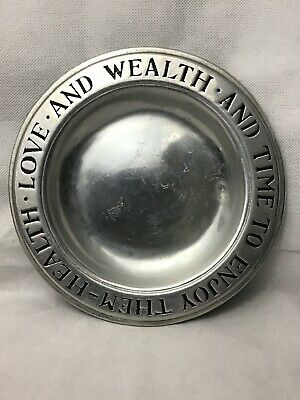 """Vintage ~ Wilton Columbia Pa Health  Love  And Wealth Plate Pewter 9"""""""