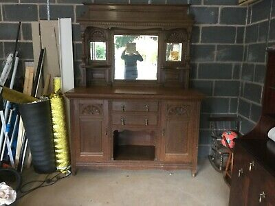 Antique solid oak cabinet with pillars, wall unit dining lounge furniture. Notts