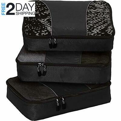 Set 3pc eBags Medium Classic Packing Cubes Checked Luggage for Travel - (Black)